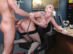 Naughty girl Leya Falcon gets her asshole plowed by her boss