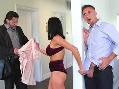 Audrey Bitoni was almost caught by her husband while sucking cock