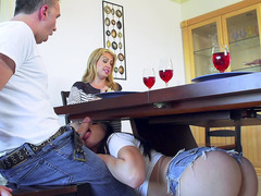 Aidra Fox sucks Keiran's pole underneath the table while his wife eating her dinner