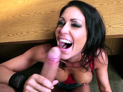 Jessica Jaymes happily slides his shlong down her throat