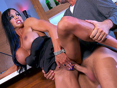 Dark haired MILF Jewels Jade takes fat cock standing up