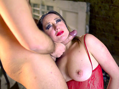 Samantha Bentley getting her face fucked hard until she's gagging on that rod