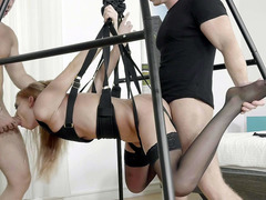 Lucy Heart hanging in the air serves three hard cocks