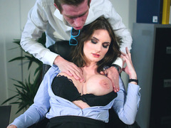 Marie Clarence gets her nice big tits fondled in the office