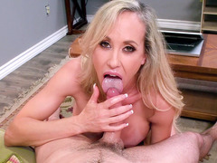 Busty MILF Brandi Love gives nice tit and blow jobs