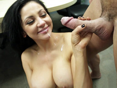Audrey Bitoni taking cumshot on her chin and chest