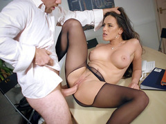 Mea Melone gets drilled through the hole in her pantyhose
