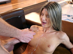 Fine figured girl Gina Gerson takes big load on her face and chest