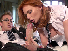 Tarra White gets her mouth stuffed full of cock