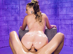 Oiled  Harley Jade on her knees gets intense pussy banging