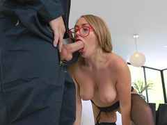 Kandace Kayne in glasses sucks that big pole