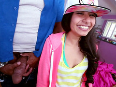 Cute Latina Ruby Rayes meets Shane Diesel and his giant cock