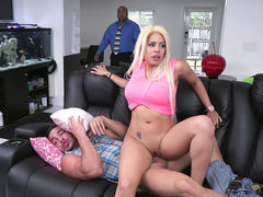 Luna Star was almost caught by husband riding stranger's cock
