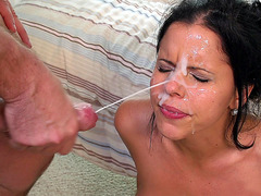 Diamond Kitty takes two big facial cumshots