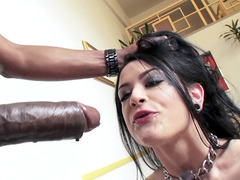 Katrina Jade slobbers over that black cockzilla