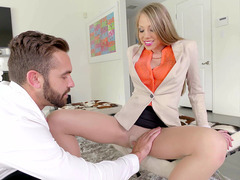 Fantastic long-legged babe Shawna Lenee seduces the lucky guy