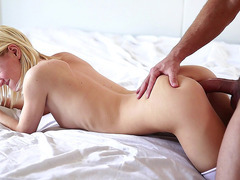 Sammie Daniels lays on her stomach getting her tight cunt drilled