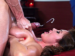 Kianna Dior enjoys his sticky cum landing on her face
