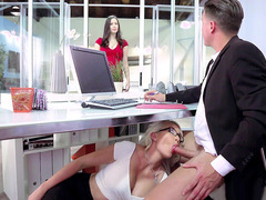Gigi Allens sucking her boss's hard cock underneath his desk