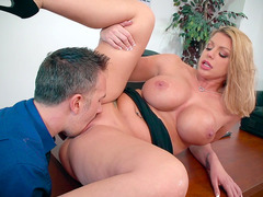 Big boobed boss Brooklyn Chase gets her snatch eaten