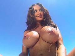 Ava Addams feeling the hot sun on her wet, gigantic breasts