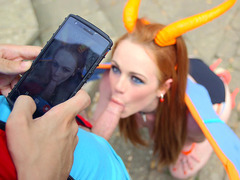 Redhead pokemon Ella Hughes got caught and started sucking Jordi's meat