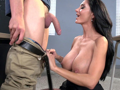 Dirty teacher Ava Addams whips out his dick and starts sucking it