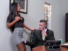 Perfect slutty secretary Elicia Solis seducing her boss