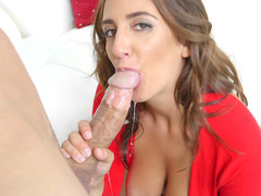 Layla London stiffens his big dick with a nice blowjob