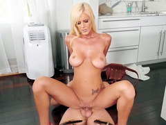 Big natural titted Olivia Blu rides hard cock in the kitchen
