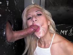 Cristi Ann had her mouth creamed through the glory hole