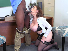 Teacher Sara Jay sucking Principal Jax Slayhe's black shaft
