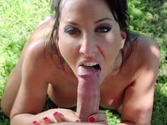 Lezley Zen drops to her knees and gives him a POV blowjob
