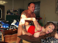 Old tease Darla Crane gets fucked over a table hard