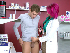 Pharmacist Anna Bell Peaks teaching Xander how to use the lube