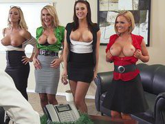 Krissy Lynn, Tanya Tate, Chanel Preston and Nicole Aniston showing him their boobs