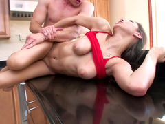 Wanton bitch Nina North has her stepbrother fuck her moist cunt