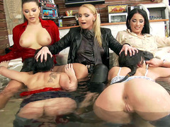 Kathia Nobili, Anissa Kate, and friends in a hot lesbian orgy