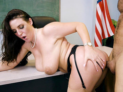 Naturally buxom Angela White took a pussy pounding
