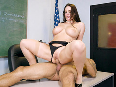 Angela White rides her student on the desk