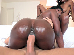 Two black bitches Ana Foxxx and Tiffany Tailor fucking one monster dick