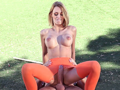 Fake boobed chick Erica Fontes riding huge shaft in the park