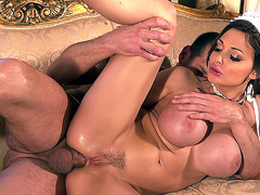 Busty vixen Aletta Ocean takes it in the ass from the rear
