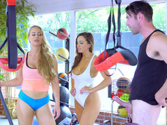 Fitness instructor Nicole Aniston caught Abigail Mac taking Charles's cock