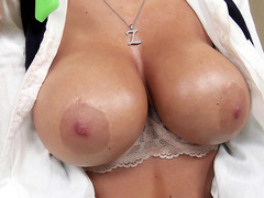Buxom schoolgirl Kayla Kayden gets her big fake tits rubbed down