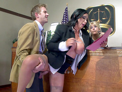 Buxom prosecutor Nikki Benz gets fucked in front of the judge