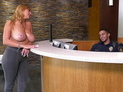 Bosomy mom Jazmyn has seducing the security guard