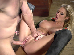 British whore Lexi Lowe spreads her long legs and gets fucked