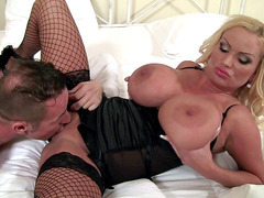 Sharon Pink licks the nipples on her huge areola while getting her cunt licked