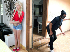 Elsa Jean hears a noise during masturbation and arms herself with a baseball bat